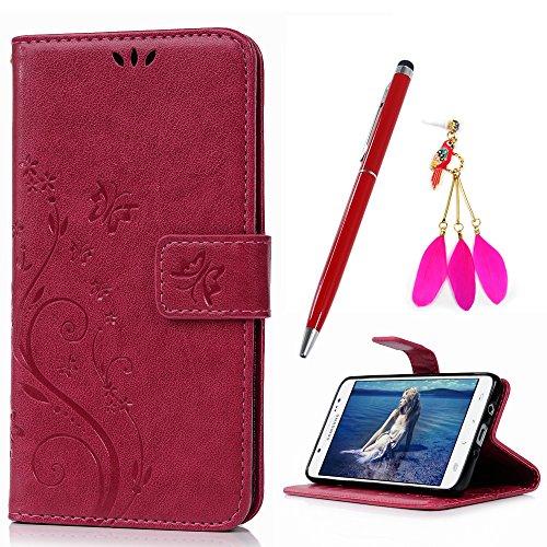 (YOKIRIN Ledertasche für Samsung Galaxy J5 (2016 Version) Rose Red Drucken Schmetterling PU Leder Handyhülle Case Wallet Lederhülle Schutzhülle Handytasche Backcover Flipcase Ständer Kartenfächer)