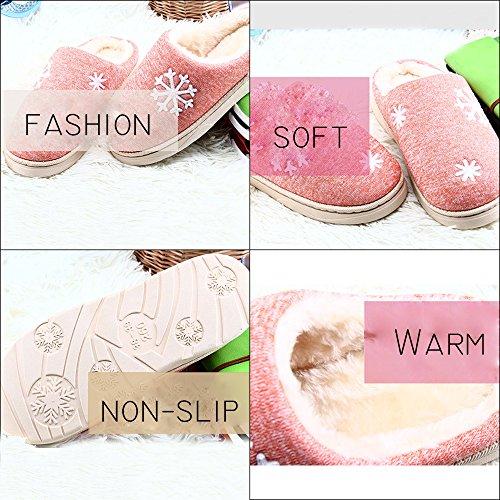 JACKSHIBO Damen Herren Plüsch Baumwolle Pantoffeln Weiche Leicht Wärme Hausschuhe Rutschfeste Slippers Für Unisex Blau