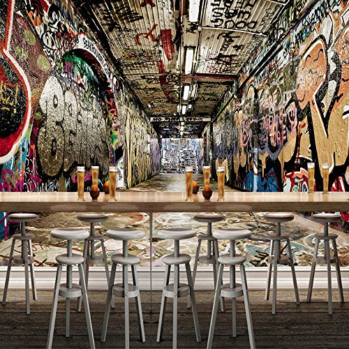 57.5inX110.82in) Wandbild Tapete 3D-Raum Street Graffiti Hip-Hop Bar Ktv Hintergrund Wandmalerei Kunst Wallpaper Wallcovering (Hip-hop-hintergrund)