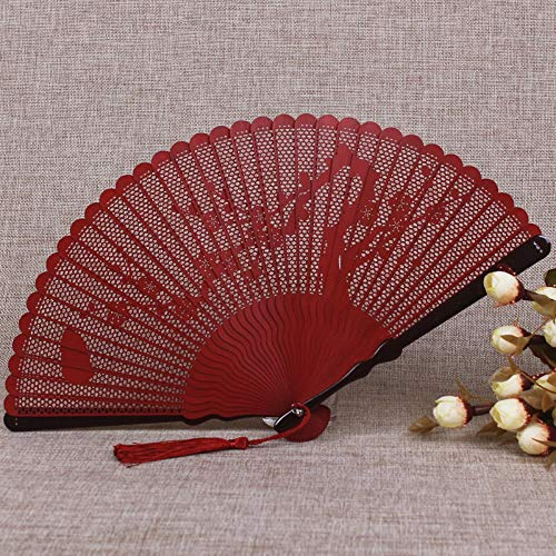 WANGYUJIN Folding Fan Chinese Style Bamboo Fan Carving Hollow Ancient Folding Fan Women's Japanese Craft Small Folding Fan Classical Red Plum - - Fan Folding Red Japanese