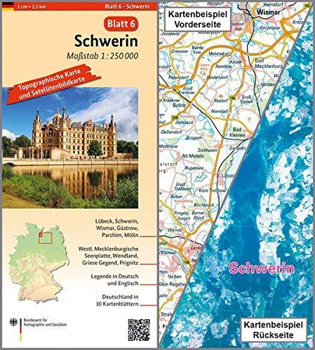 Schwerin: Umgebungskarte mit Satellitenbild 1:250.000 (TK250 / Topographische und Satellitenbildkarte, Band 6)