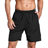 """HUAKANG Men's Running Shorts 7"""" with Zipper Pockets Quick Dry Breathable Workout Athletic Active Gym Shorts"""