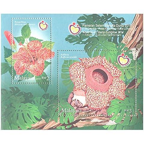 Flora Flores Hoja Souvenir con Print 2 sellos especiales brillante acabado / tinta / Malasia / 2014 /