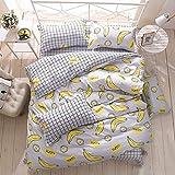 Bettbezug Set Frucht Design, 3 Stück Mikrofaser Einfache Bettwäsche Gemütlich Enthalten Kissenbezug Betten Schlafzimmer für Kinder und Erwachsene