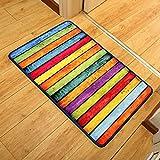 DSJ Teppich Retro Rainbow Striped Fliese Trends Individuelle Foot Pad Rechnungsstellung Glätte in und aus der Fußmatte,80 * 120 cm