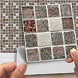 DXHH 18 STÜCKE Steinkopfbeschaffenheitsmosaikart Fliesen Aufkleber Dekorative Aufkleber Kreative Rutschfeste Selbstklebende Wandtattoos Floor Sticke