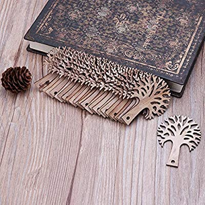 25pcs Laser Cut Wooden Tree Embellishment Wooden Shape Craft Wedding Decor Crafts Diy by hgfcdd
