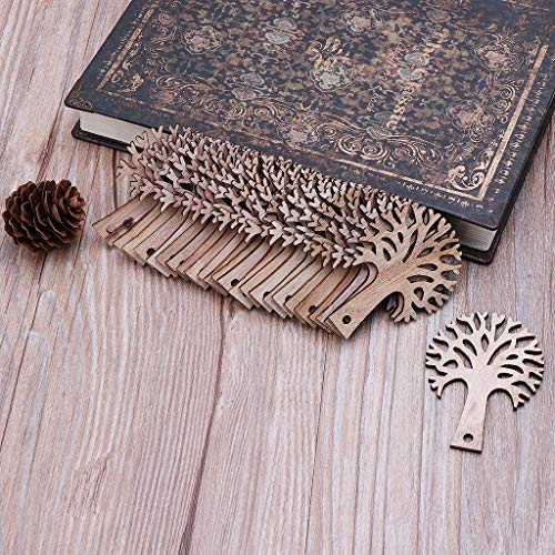 Freshsell 25pcs Laser Cut Wooden Tree Embellishment Wooden Shape Craft Wedding Decor