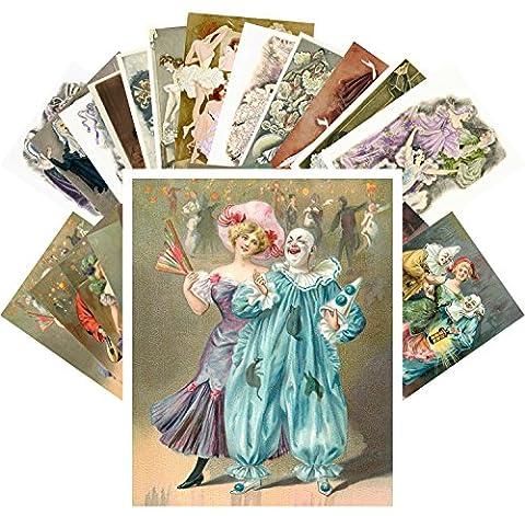 Postcard Set 24pcs Vintage Carnival Cabaret Vintage Circus Posters Art Deco
