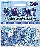 Unique Party 55217 - Blu Brillante Coriandoli in Foil per 60° Compleanno