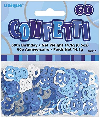 Unique Party 55217 Coriandoli in Foil per 60° Compleanno, Blu Brillante