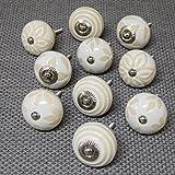 10er-Set creme weiß Beige Shabby Chic Herz Blume Streifen Keramik Porzellan China Schrank Schublade Tür Griffe