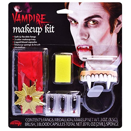 Easy Mens Womens Kids Face Paint Make-up kit Vampire with Fangs Sponge Kit Set Count Dracula Halloween Set by Bristol Novelties