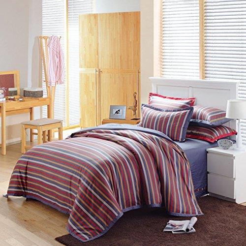 ZHAS 400 TC einfachen Minimalismus Stil 100% Baumwolle streifen Steppdecke Set 4 Stück (1 Bettbezüge 1 Bettlaken 2 Kissenbezüge)-B Queen 2