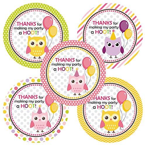 orations - EU Eule danken Ihnen Aufkleber-Aufkleber - Mädchen-Geburtstag-und Baby-Duschen-Party-Aufkleber-Bevorzugung - Set 30 ()