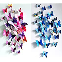 24Pcs 3d mariposa pegatinas de pared Art Decor dodoskinz
