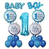Geburtstag Dekoration Aufblasbar Helium Folie Ballons,Cocodeko Happy Birthday Baby Boy Jungen 1. Geburtstag Party Luftballons Set Supplies, Party Dusche Foto Requisiten Zahl 1 rund Herz - Blau