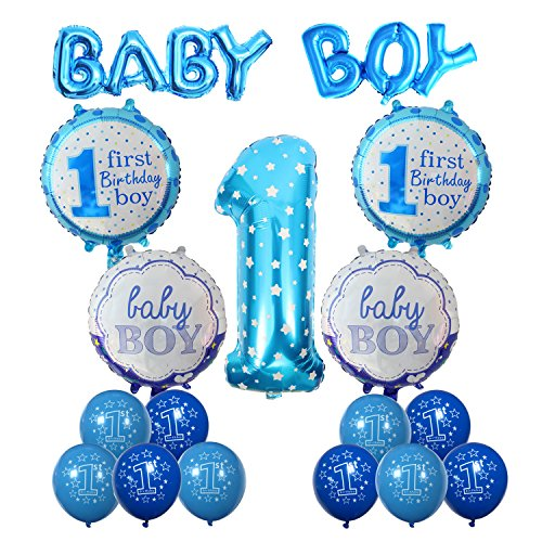 n Aufblasbar Helium Folie Ballons,Cocodeko Happy Birthday Baby Boy Jungen 1. Geburtstag Party Luftballons Set Supplies, Party Dusche Foto Requisiten Zahl 1 rund Herz - Blau (Schwarz Und Gold-party Supplies)