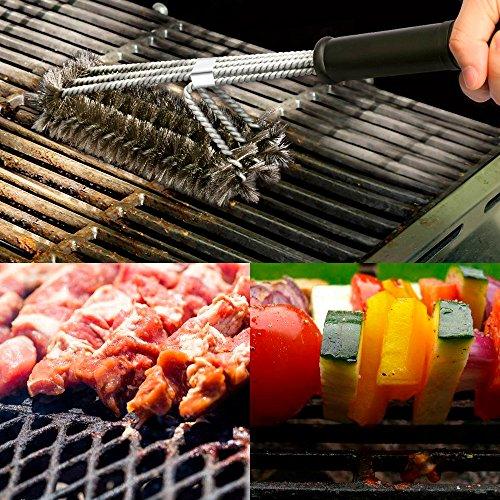 61DahXq 34L - BBQ Grillbürste, Bukm 3 Edelstahl Bürsten Profi-Grillbürste 360°Grill Cleaner Brush Perfekt für gewerblichen Einsatz, Outdoor und Camping