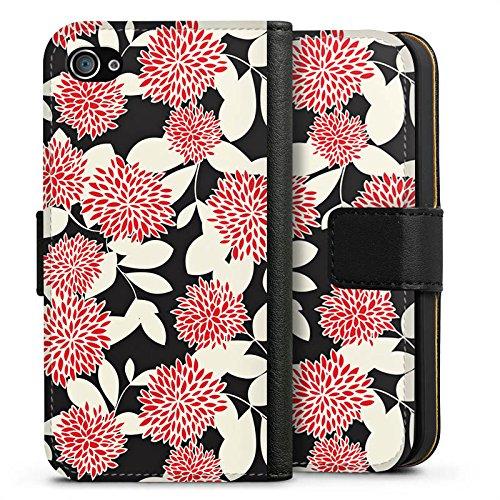 Apple iPhone X Silikon Hülle Case Schutzhülle Blumen Ornamente Muster Sideflip Tasche schwarz