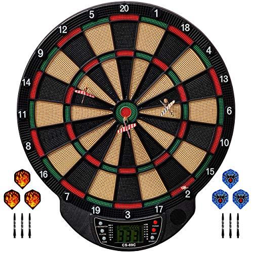 Best Sporting elektronische Dartscheibe Bristol Dartboard mit 6 Dartpfeilen und Ersatzspitzen + Aluminium Schäfte + Flights, Dartautomat mit LCD-Display, Batteriebetrieb