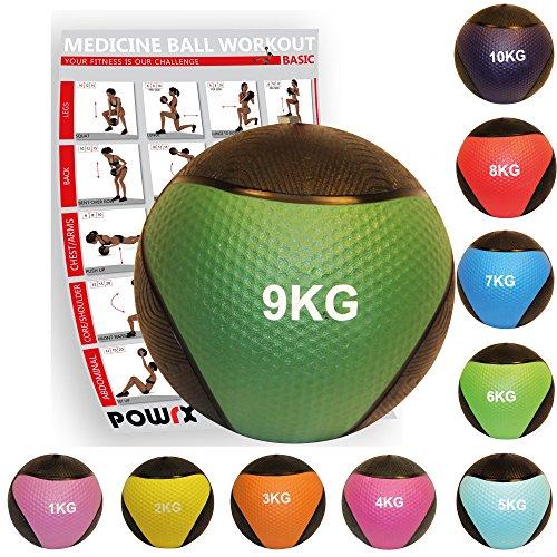 POWRX - Balón Medicinal 9 kg + PDF Workout Verde