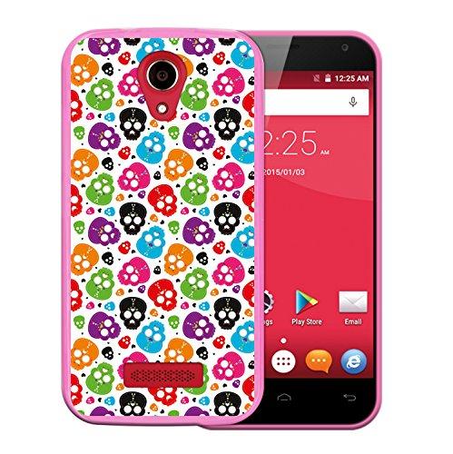 WoowCase Doogee X3 Hülle, Handyhülle Silikon für [ Doogee X3 ] Mehrfarbiger Schädel mit Herzen Handytasche Handy Cover Case Schutzhülle Flexible TPU - Rosa