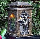 ♥ Grablaterne Grablampe Massiv Baum des Lebens Bronze 22,0 cm mit Grabkerze Grabschmuck Grableuchte Grablicht Laterne Kerze Licht Lampe