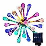 Goodia multi color 4.8M 20 LED Icicle Lights Solar Powered Raindrop Garden Strin