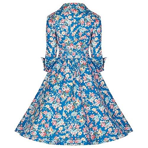 E-Girl M116618D Robe de bal Vintage pin-up 50's Rockabilly robe de soirée cocktail,S-XXL Bleu clair