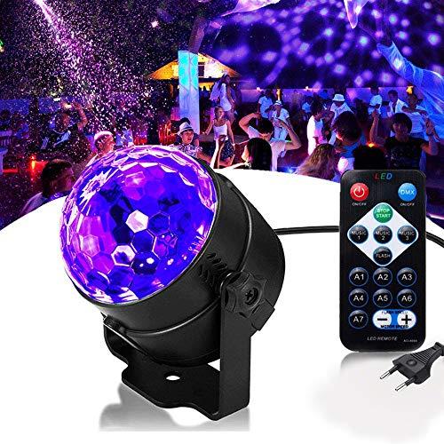 UV Beleuchtung Schwarzlicht Discokugel SOLMORE LED Lichteffekte Disco Licht Partylicht mit Fernbedienung und Soundkontrolle 3W Bühnenlicht für Dekoration Party Bar Club Disco Karneval
