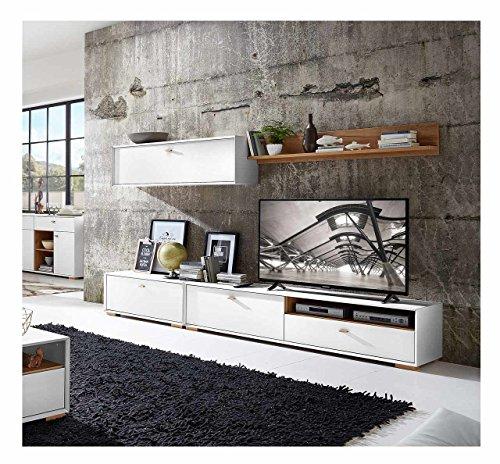 Anbauwand, Wohnwand, Schrankwand, Fernsehwand, Wohnzimmerschrank, Wohnzimmerschrankwand, Eiche, Navarra, steingrau, modern, Retro