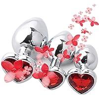 3 pièces/Ensemble Àmàl Plûgs Acier Inoxydable Diamant Rouge Bijoux Strass Cristal Forme de Coeur gemme métal de Base…
