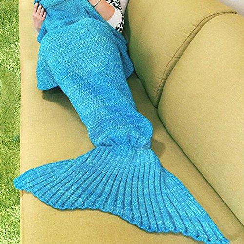 YOWAO Meerjungfrau Decke, Schlafsack (Stricken - blau, Erwachsene)