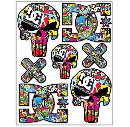 7pcs Pegatinas Punisher Calavera DC Sticker Stickerbomb Vinilo Adhesivo Coches Cascos Motos...