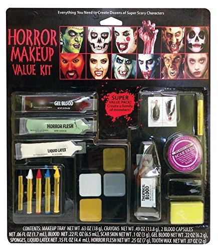 shoperama Diverse Halloween Schminksets Vampirin Zombie Blut Schminke Wunden Narben Vampir-Zähne Kunstblut Make-up, Namen:Horror Makeup Value Kit