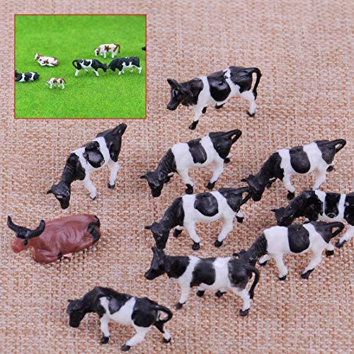 MEJOSER 10x Modell Kühe Bauernhof Modellbau Modelleisenbahn Spur H0 1:87 Figuren Kinder