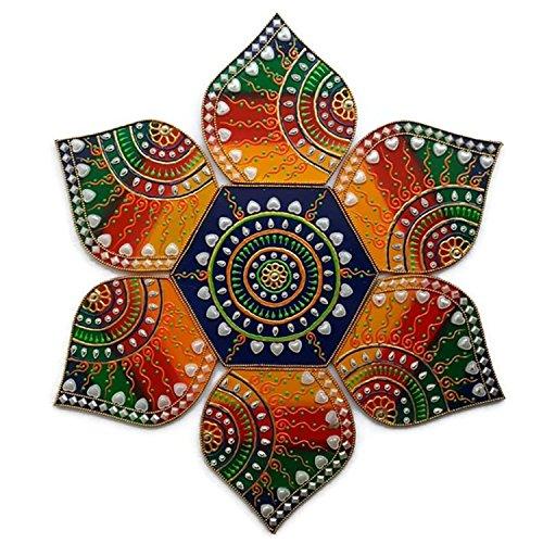 Ethnic Avenue Diwali Weihnachtsschmuck-Rangoli-7Stück Handgefertigt aus Holz-Multi Design-für Wand, Boden Oder Tisch Dekoration