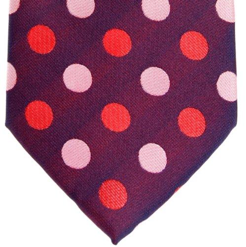 Retreez bicolores à pois en microfibre tissé de cravate–Différentes couleurs Violet - Dark Purple with Pink and Red Polka Dots