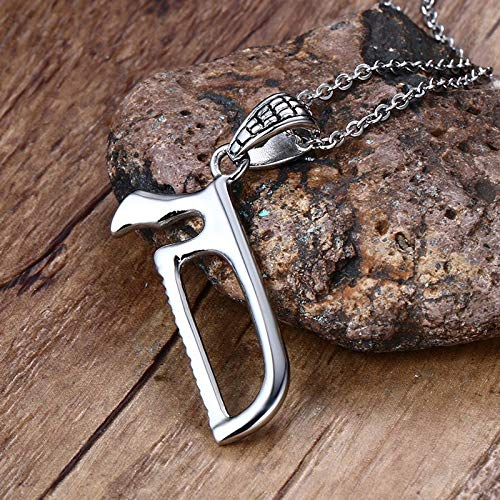 Handgefertigte Bandsaw Hand Saw Punk Pendant Halskette Stainless Steel Hacksaw Zombie Slayer Unisex Jewelry 20 Inch Chain