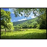 Wall Poster SUMMER LANDSCAPE WITH RIVER With Matte Finish Decor Wall Sticker Art For Kitchen, Office, Bedroom, Living Room, Home, Drawing Room Vinayl, Wall Art Poster High Quality, Vibrant Print - Size: (12x18 Inches Or 18x12 Inches)