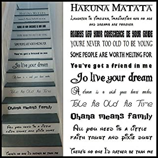 LARGE STAIR RISER STICKERS DISNEY FONTS USED ALL FAVOURITE SONGS VINYL DECALS, Widest Line 550mm - 22inch Small, Black