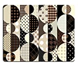 MSD-Tappetino per mouse in gomma naturale, gioco immagine sfondo: 31852806 ID, senza cuciture, per piastrelle infinito motivo geometrico retrò, colore: caffè