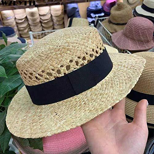 Qunimeide Sommer Sonnenhut Frauen männer Elegante handgemachte Hut hohlband Stroh Strand Boater hüte Skimmer Cap 56-60 cm
