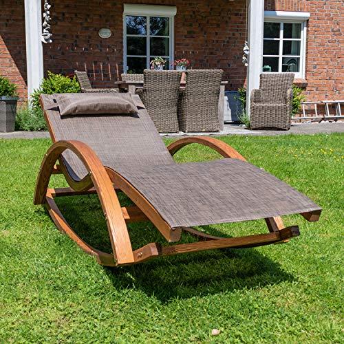 Ampel 24 Relax Schaukelstuhl Rio, Relaxliege mit Armlehnen, Gartenmöbel aus vorbehandeltem Holz, Stuhl Bespannung braun, wetterfeste Gartenliege - 5