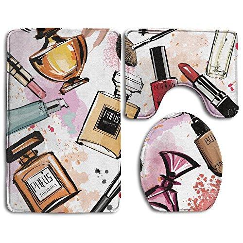 RedBeans Badezimmer Teppich Girly Kosmetik- und Make up Thema Muster mit Parfüm und Lippenstift...