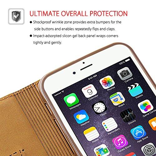 BELK iPhone 6 Hülle (11.94 cm) -Sleek Snag Premium ECHT Leder Flip Case Schutzhülle mit Ständer und Display-Schutzfolie), Schwarz Pink - 6s - Brown-6s