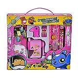 Himki Schreibwaren Set 10-teilig Cartoon Schulbedarf Geschenkbox Mitgebsel für Kinder (Rosa)
