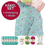 Myboshi Häkel-Set Babydecke mit Pünktchen 64cm x 67cm: 8 x Wolle Lieblingsfarben No.2 + Häkelanleitung + selfmade Label Wollfarben (Meerblau / Limettengrün /Magenta / Weiß)
