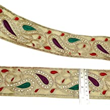 Tela bordada recorte Sari Frontera floral de la tela del cordón de 7,6 cm de ancho por The Yard